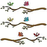 Birds Landing on a Branch