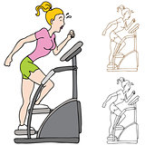 Woman Exercising on Stairclimber Machine