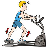 Man Exercising on Elliptical Machine