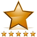 Five Gold Stars Rating Icon