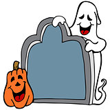 Tombstone Ghost Pumpkin