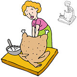Woman Stuffing Turkey