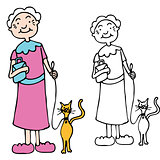 Senior Woman Walking Cat on Leash