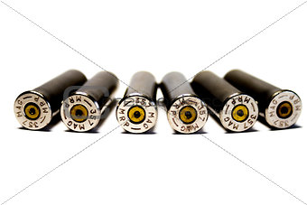 Six fired cartridge cases, caliber .357 Magnum