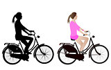 female bicyclist silhouette and illustration