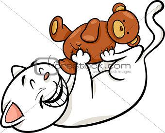cat with teddy cartoon illustration