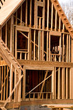 Part of a house in the framing phase of construction