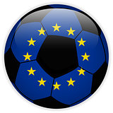 Europe Flag with Soccer Ball Background