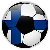 Finland Flag with Soccer Ball Background