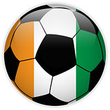 Ireland Flag with Soccer Ball Background