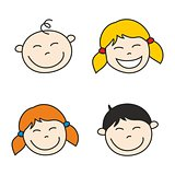 Happy kids hand drawn vector illustration isolated on white background.
