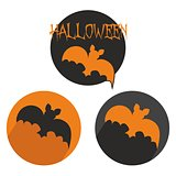 Halloween vector button set with bat