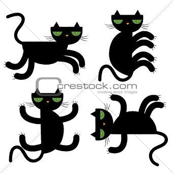 black cats vector illustration
