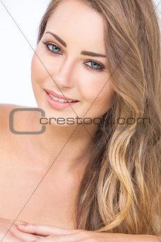 Smiling Beautiful Woman Green Eyes Blond Hair