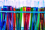 test tubes with liquids of different colors