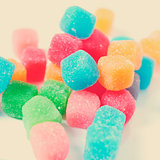 gummy cubes, with a retro effect