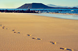 white sand beach in Corralejo, Fuerteventura, Canary Islands, Sp