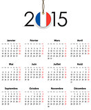 French Calendar grid for 2015 with flag like tag