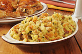 Corn bread stuffing with chicken