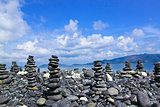 Stacks of black stone at Kho Hin Ngam,Thailand