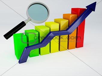 Business graph and magnifying glass