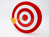 gold Dart Hitting The Target. isolated white