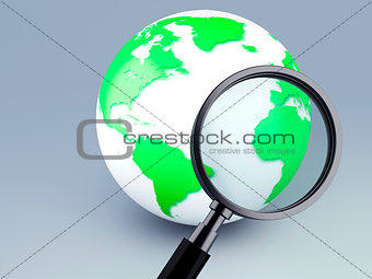 green world and a magnifying glass 3d