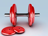 red dumbbells for fitness