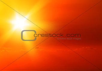 Beautiful warm yellow sunset