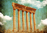 Retro grungy style photo. Jupiter's temple, Baalbek, Lebanon