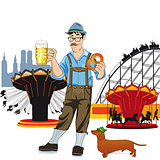 Bavarian man with beer at Oktoberfest