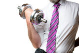 Businessman holding silver dumbbell