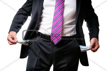 Business man empty pockets