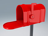 opened red mail box