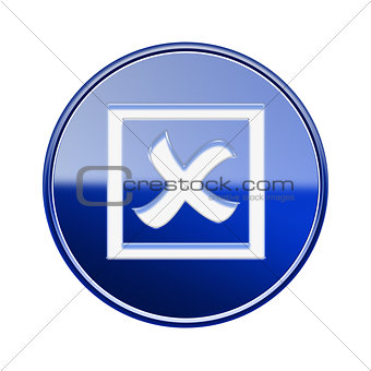 close icon glossy blue, isolated on white background.