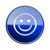 Smiley Face icon glossy blue, isolated on white background.