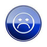 Smiley Face dissatisfied icon glossy blue, isolated on white bac