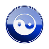 yin yang symbol icon glossy blue, isolated on white background.