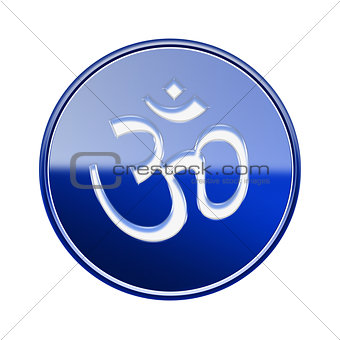 Om Symbol icon glossy blue, isolated on white background.