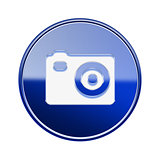 Camera icon glossy blue, isolated on white background