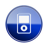mp3 player icon glossy blue, isolated on white background