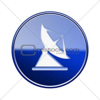 Antenna icon glossy blue, isolated on white background