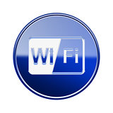 WI-FI icon glossy blue, isolated on white background