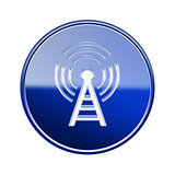 WI-FI tower icon glossy blue, isolated on white background