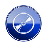 Compact Disc icon glossy blue, isolated on white background