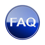 FAQ icon glossy blue glass, isolated on white background