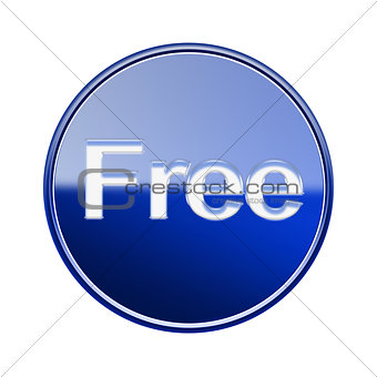 Free icon glossy blue, isolated on white background