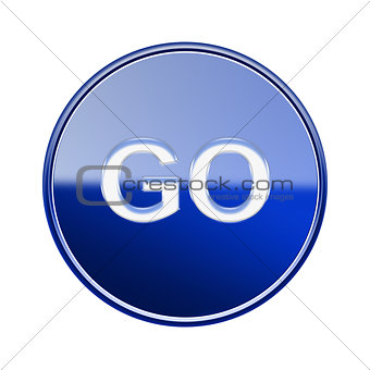 GO icon glossy blue, isolated on white background