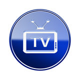 TV icon glossy blue, isolated on white background