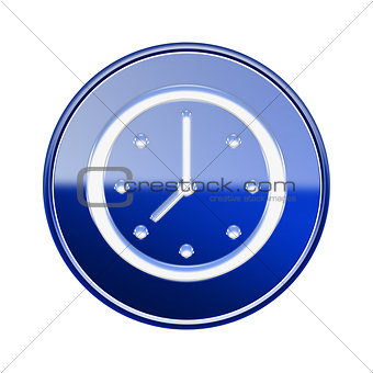 Clock icon glossy blue, isolated on white background